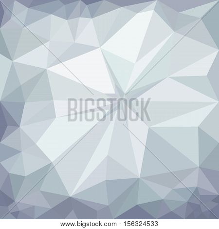 Winter gray crumpled paper polygonal triangular mosaic background, vector illustration