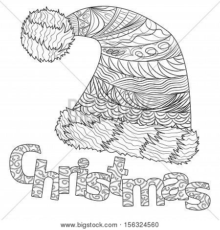 Christmas hat with pattern for adult coloring book greeting card zen art isolated on the white background