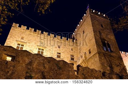 view of the castle masters, the main castle of Rhodes the night summer
