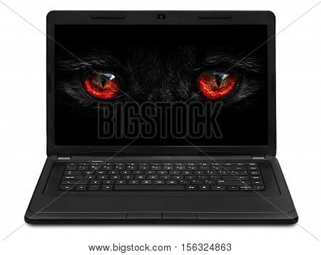 monster eyes looking to the laptop screen