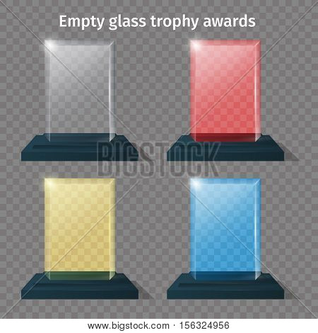 Empty glass trophy awards vector set different colors. Isolated glossy transparent trophy for award. Vector illustration
