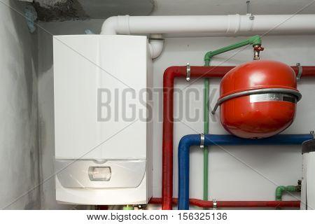 Condensing Boiler Gas In The Boiler Room