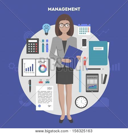 Concept banner office objects marketing items and administration, woman manager. Modern design flat icon, workstation objects, vector illustration