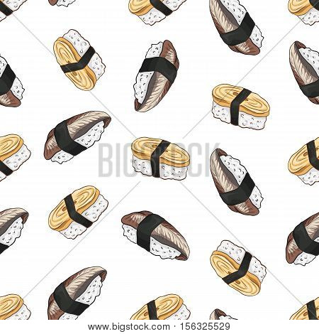 Vector seamless pattern Tamago Nigiri and nigiri Sushi, color