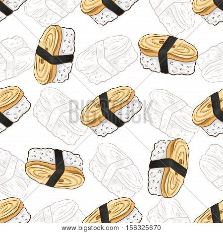 Vector seamless pattern Tamago Nigiri Sushi with wasabi, color and sketch