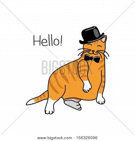 Cute cat in a black hat and bow tie sitting in a funny pose. Vector illustration.