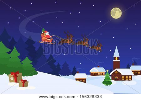 Christmas landscape with christmas trees an houses. Background with moon and Santa Claus flying on a sleigh. Concept for greeting or postal card, vector illustration