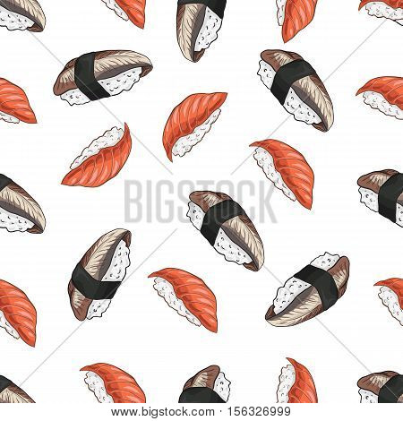 Vector seamless pattern unagi nigiri Sushi and nigiri sake, color