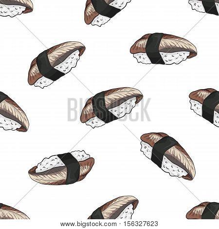 Vector seamless pattern unagi nigiri Sushi, color