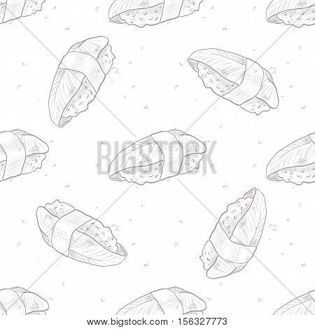 Vector seamless pattern unagi nigiri Sushi, sketch