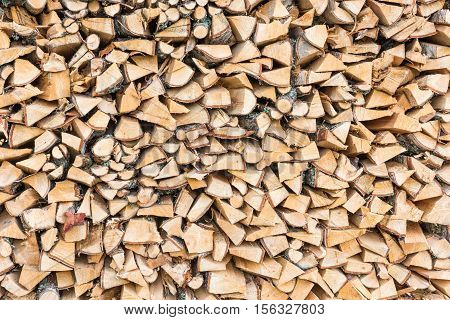 Firewood texture background. Close-up of chopped firewood.