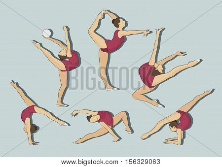 Woman stretching, gymnastic, exercises, sport, Pilates, jumping, dancing Girl doing exercises Girl stretching in different poses