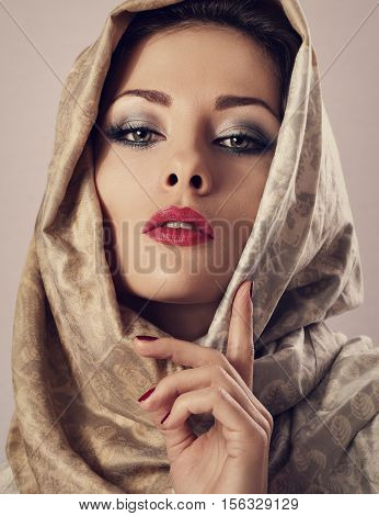 Beautiful Makeup Woman With Red Lipstick And Long Lashes Posing With Head Covered Orient Traditional