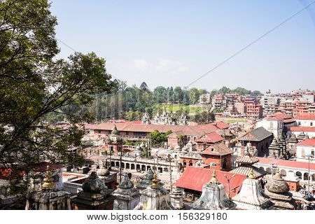 Votive temples and shrines in a row at Pashupatinath Temple, Kathmandu, Nepal