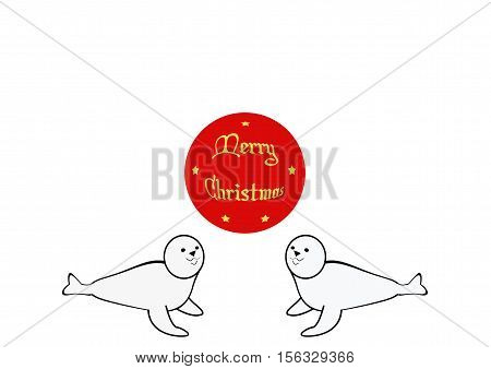Christmas Greeting with Cartoon Baby Seal Figures
