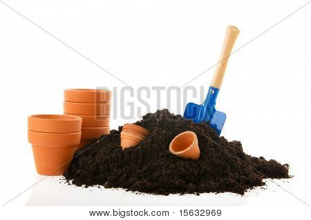 sand flower pots and work tools for working in the garden