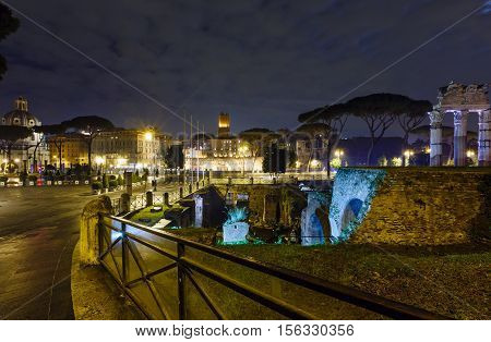 Rome City Night View, Italy, Trajan Forum.