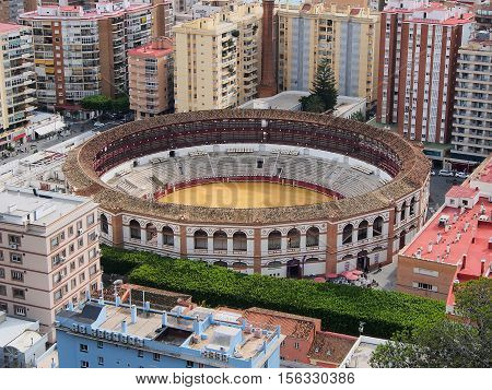 View from a height over the famous bullring in Malaga