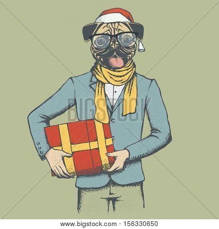 Pug dog vector illustration. Pug dog in human suit with santa hat