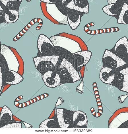 Raccoon vector seamless pattern illustration. Raccoons head with santa hat
