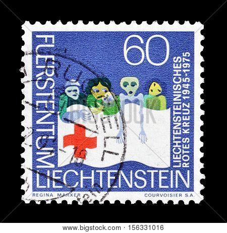 LIECHTENSTEIN - CIRCA 1975 : Cancelled postage stamp printed by Liechtenstein, that promotes humanitarian work.