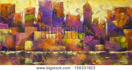 Acrylic painting of a colorful city skyline.