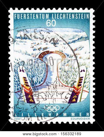 LIECHTENSTEIN - CIRCA 1993 : Cancelled postage stamp printed by Liechtenstein, that shows Ski jump.