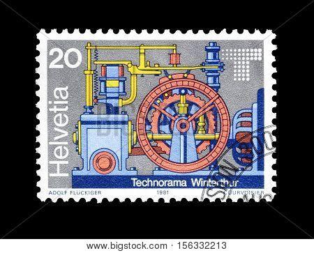 SWITZERLAND - CIRCA 1981 : Cancelled postage stamp printed by Switzerland, that shows Voltage regulator.