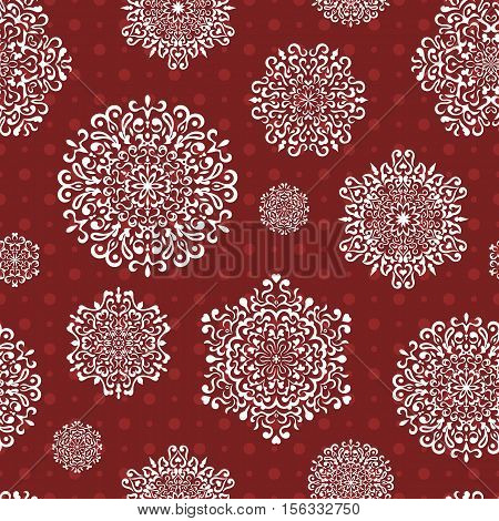 Seamless snowflake pattern, delicate winter Christmas background