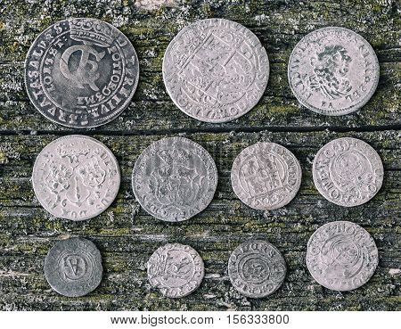 old money of the Grand Duchy of Lithuania Poland Belarus tymf coins metal retro style selective focus