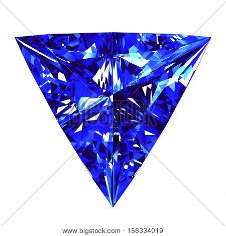 Sapphire Triangle Cut Over White Background. 3D Illustration.