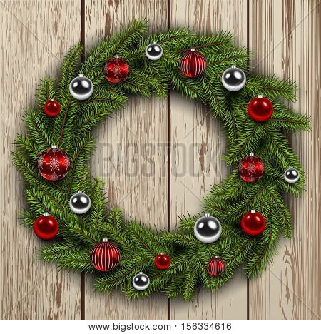 Christmas wreath on wooden board background, vector illustration