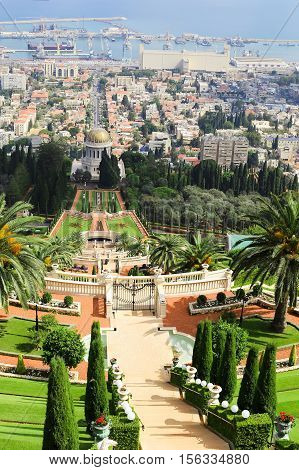 HAIFA ISRAEL - CIRCA SEP 2016: View of the Bahai Gardens and city streets from the top terrace