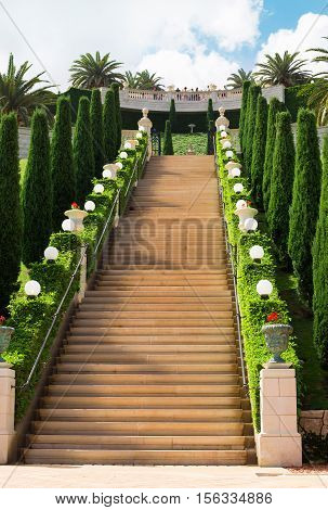 HAIFA ISRAEL - CIRCA SEP 2016: Empty staircase in Bahai gardens. Touristic and religious place