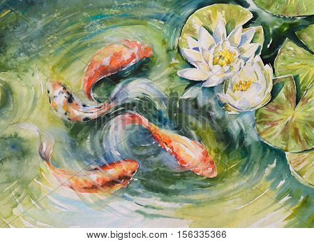 Colorful fishes swimming in pond .Picture created with watercolors.