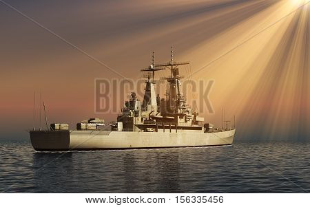 Modern Warship In Rays Of The Sun. 3D Illustration.