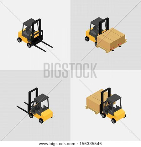 vector illustration. Set of isometric icons of the forklift. Loader with pallet with boxes.3D.