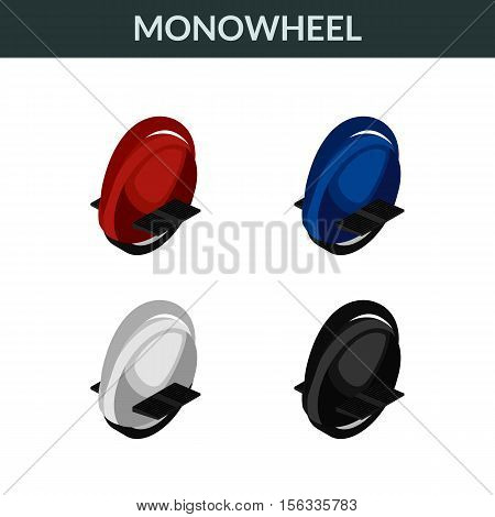 Vector illustration. Set of colorful isometric icons electric unicycle environmentally friendly balancing scooter monowheel. 3D