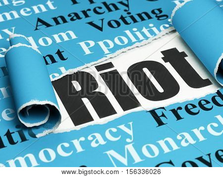 Politics concept: black text Riot under the curled piece of Blue torn paper with  Tag Cloud, 3D rendering