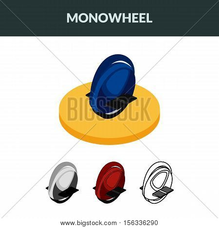 Vector illustration. Set of isometric icons electric unicycle balancing scooter monowheel. Colorful contour outline. 3D