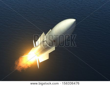 Missile Launch On The High Seas. 3D Illustration.