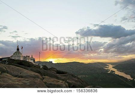 Hampi India Hanuman temple at beautiful sunrise