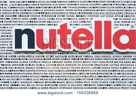 Milan, Italy - July 21, 2015: Nutella is a brand of sweetened hazelnut cocoa spread manufactured by the Italian company Ferrero that was first introduced in 1964