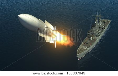 Missile Launch From A Warship On The High Seas. 3D Illustration.