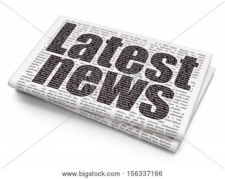 News concept: Pixelated black text Latest News on Newspaper background, 3D rendering