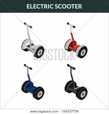 Vector illustration. Set of colorful isometric icons two-wheeled eco electric scooters. 3D