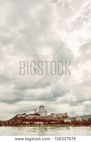 Beautiful basilica in Esztergom Hungary. Cultural heritage. Travel destination. Vertical composition. Place of worship. Retro photo filter. Religious architecture.