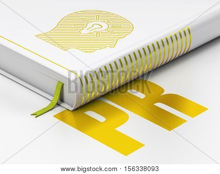 Marketing concept: closed book with Gold Head With Light Bulb icon and text PR on floor, white background, 3D rendering