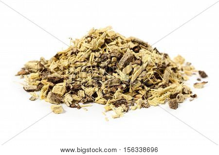 Licorice or liquorice root also used for tea isolated on white background