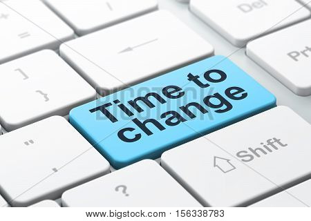 Time concept: computer keyboard with word Time to Change, selected focus on enter button background, 3D rendering